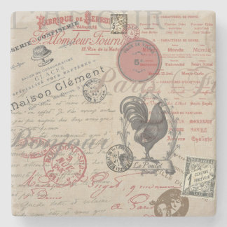 Vintage French Handwriting Paris Rooster Stone Coaster