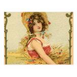 Vintage French Harvest Girl Post Card