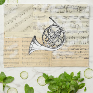 Vintage French Horn Music Kitchen Towel