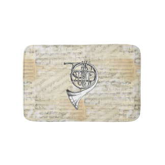 Vintage French Horn Sheet Music Bath Rug Bath Mats