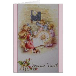 Vintage French Joyeux Noël Nativity Christmas Card
