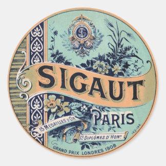 Vintage French Label Round Sticker