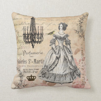 Vintage French lady shabby chic pillow