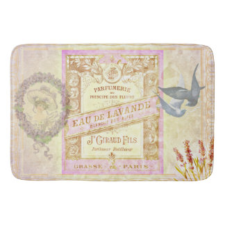 Vintage French Lavender Perfume Collage Bath Mat