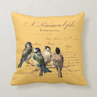 Vintage French Letter and Birds Cushion