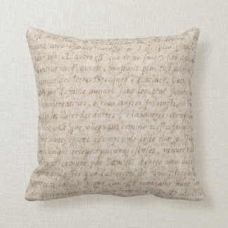 Vintage French Light Brown Old Tan Text Parchment Cushion
