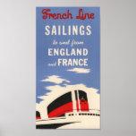 Vintage French Line Ocean Liner Poster