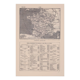 Vintage French map, 1920, France and her kings Poster