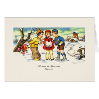 Vintage French New Year Greeting Card