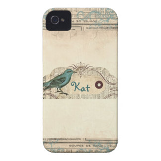 Vintage French Newspaper Bird Blackberry Bold iPhone 4 Cover