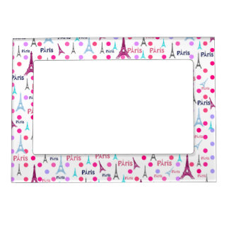Vintage French Paris Eiffel Tower Pink Polka Dots Magnetic Frame