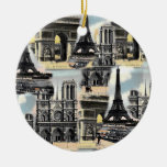 Vintage French Paris Travel Collage Eiffel Tower Christmas Tree Ornament