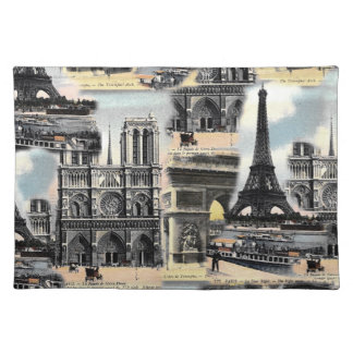 Vintage French Paris Travel Collage Eiffel Tower Placemat