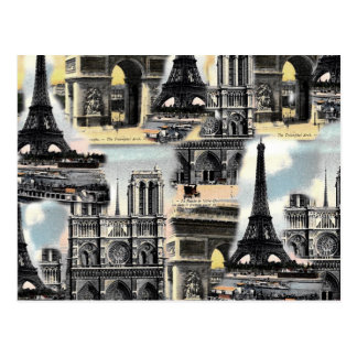 Vintage French Paris Travel Collage Eiffel Tower Postcard
