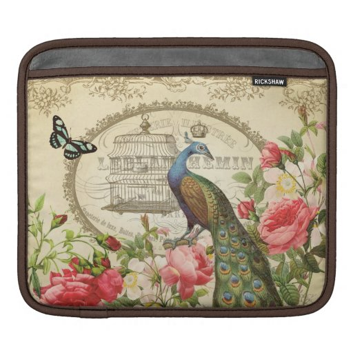 Vintage French Peacock ipad sleeve