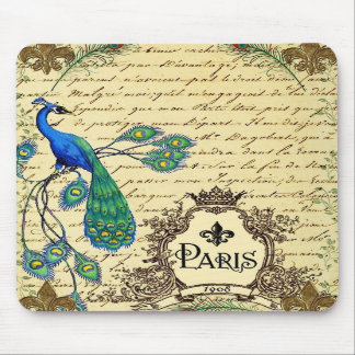 Vintage French Peacock Letter Mousepad