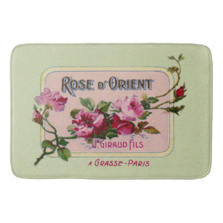 Vintage French Perfume Floral Ad Art Bath Mats
