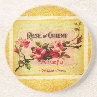 Vintage French Perfume Label Drink Coaster