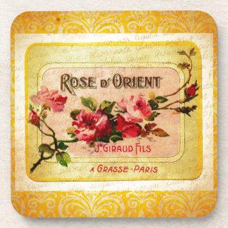 Vintage French Perfume Label Beverage Coaster