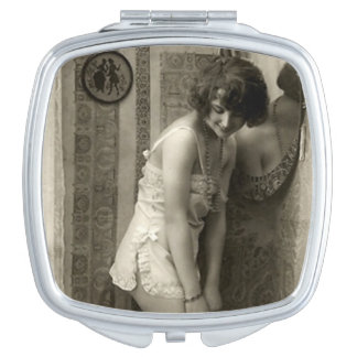 Vintage French Pin-up Girl Mirror For Makeup