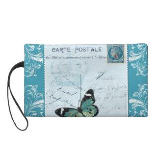Vintage French pink blue postcard stamp butterfly Wristlets