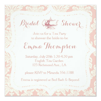 Vintage French Pink+Cream Damask Bridal Tea Party 13 Cm X 13 Cm Square Invitation Card