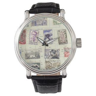 Vintage French Postage Stamps Wrist Watches