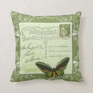 Vintage French postcard collage - stamp butterfly Throw Cushions