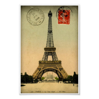 Vintage French Postcard Eiffel Tower Paris France Poster