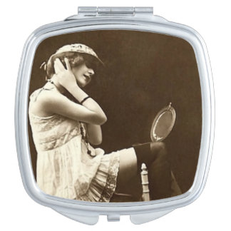 Vintage French Postcard Girl Vanity Mirrors