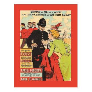 Vintage French railway poster Paris to London Postcard