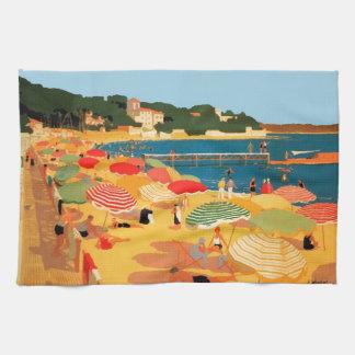 Vintage French Riviera Beach Tea Towel