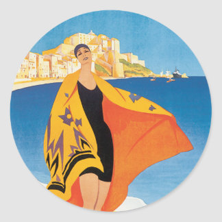 Vintage French Riviera Image Classic Round Sticker