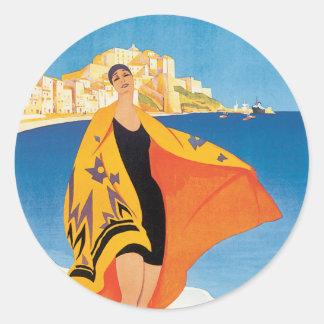 Vintage French Riviera Image Round Sticker