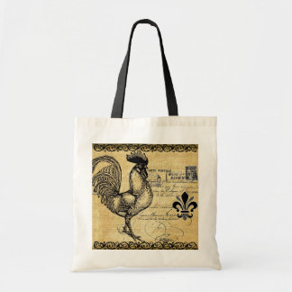 Vintage French Rooster On Burlap Budget Tote Bag