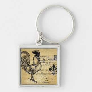 Vintage French Rooster On Burlap Key Ring