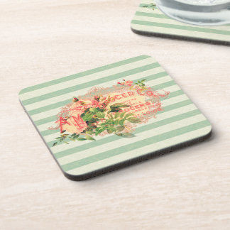 Vintage French, roses and advertising postcard Drink Coasters