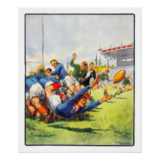 Vintage French Rugby Archival Print