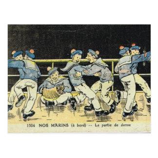 Vintage French,  Sailors boxing, World War 2 Postcard
