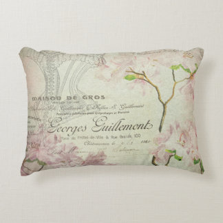 Vintage French Script Chic Pink Floral Collage Decorative Cushion