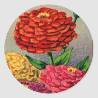 Vintage French Seed Package Zinnia Zinnas Classic Round Sticker