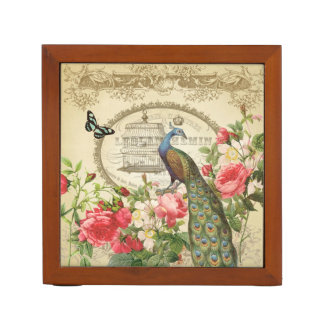 Vintage French Shabby Chic Peacock Pencil/Pen Holder
