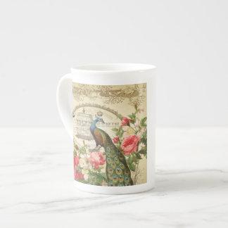 Vintage French Shabby Chic Peacock Bone China Mug