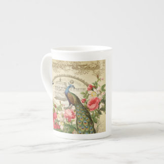 Vintage French Shabby Chic Peacock Tea Cup