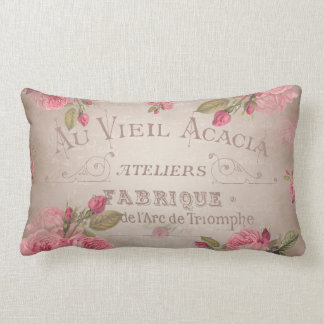 Vintage french shabbychic roses pink floral lumbar cushion