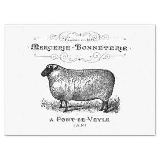 Vintage French Sheep Graphic Tissue Paper