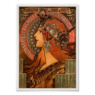 Vintage French soap Ad Art Nouveau Poster Print