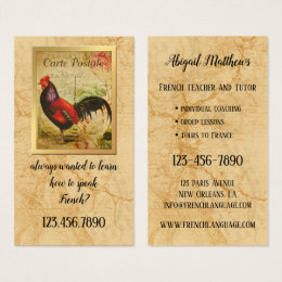 History teacher business cards business card printing zazzle vintage french teacher and tutor business card reheart Gallery