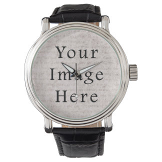 Vintage French Text Parchment Paper Background Watch