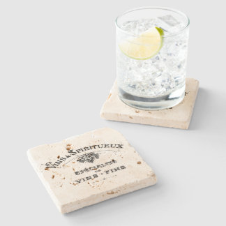 Vintage french text wines and spirits weathered stone coaster